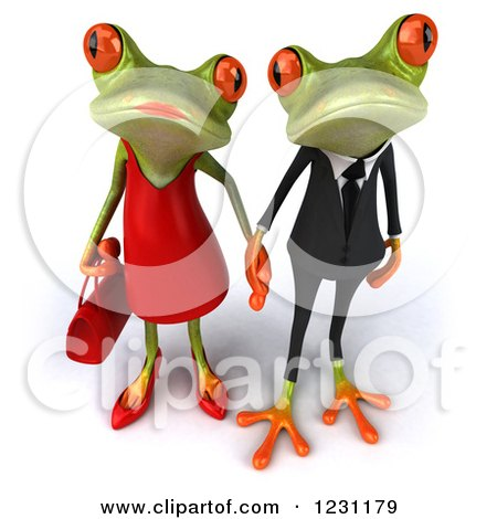 Clipart of a 3d Springer Frog Couple Holding Hands 2 - Royalty Free Illustration by Julos