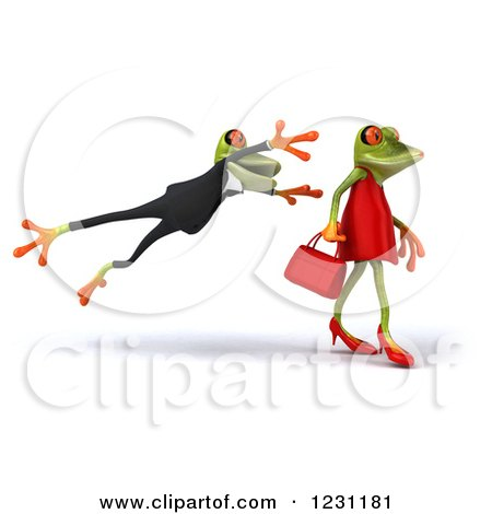 Clipart of a 3d Male Springer Frog Leaping at a Female - Royalty Free Illustration by Julos