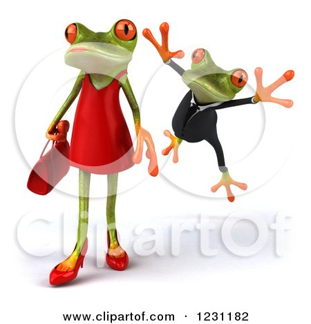 Clipart of a 3d Male Springer Frog Leaping at a Female 2 - Royalty Free Illustration by Julos