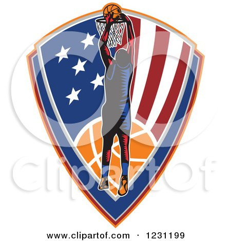 Clipart of a Woodcut Basketball Player Slam Dunking over an American Shield - Royalty Free Vector Illustration by patrimonio