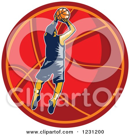 Clipart of a Woodcut Basketball Player Jumping over a Red Ball - Royalty Free Vector Illustration by patrimonio
