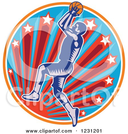 Clipart of a Woodcut Basketball Player Jumping over a Sun and Starburst Circle - Royalty Free Vector Illustration by patrimonio