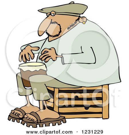 Clipart of an Indian Man Sitting on a Crate and Playing a Drum - Royalty Free Vector Illustration by djart