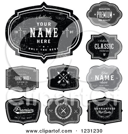 Clipart of Distressed Black and Gray Labels with Sample Text - Royalty Free Vector Illustration by BestVector