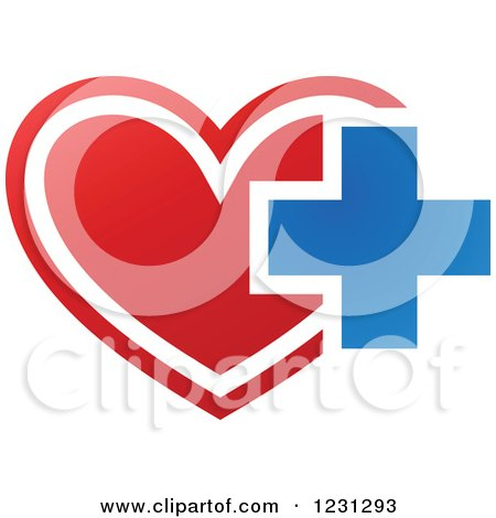 Clipart of a Red Heart and Medical Cross - Royalty Free Vector Illustration by Vector Tradition SM