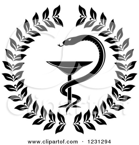 Clipart Of A Black And White Snake And Medical Caduceus With A Wreath Royalty Free Vector Illustration