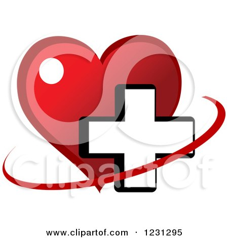 Clipart of a Red Heart and Medical Cross 4 - Royalty Free Vector Illustration by Vector Tradition SM