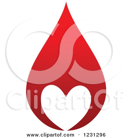 Clipart of a Red Blood Droplet with a White Heart - Royalty Free Vector Illustration by Vector Tradition SM