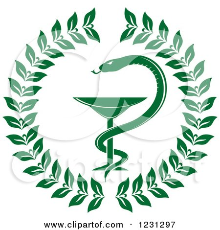 Clipart of a Green Snake and Medical Caduceus with a Wreath - Royalty Free Vector Illustration by Vector Tradition SM