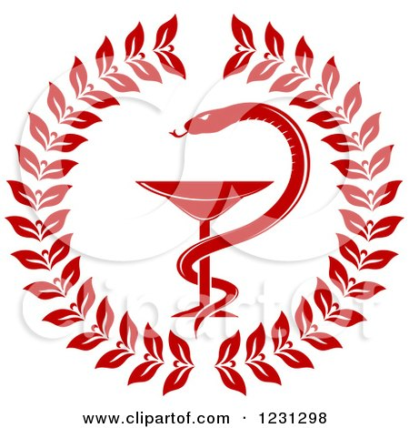 Clipart of a Red Snake and Medical Caduceus with a Wreath - Royalty Free Vector Illustration by Vector Tradition SM