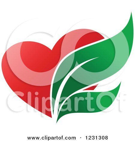Clipart of a Red Heart and Pharmaceutical Leaves - Royalty Free Vector Illustration by Vector Tradition SM