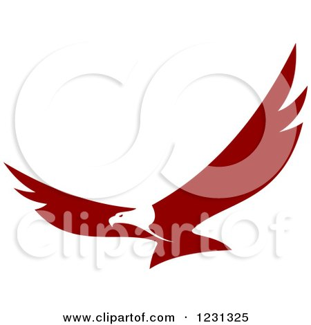 Clipart of a Maroon and White Flying Bald Eagle - Royalty Free Vector Illustration by Vector Tradition SM
