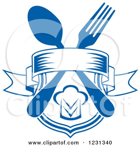 Clipart of a Blue Banner and Shield with a Chef Hat and Silverware - Royalty Free Vector Illustration by Vector Tradition SM
