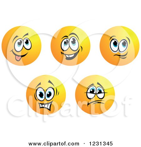Clipart of Round Yellow Smiley Face Emoticons in Different Moods 3 - Royalty Free Vector Illustration by Vector Tradition SM