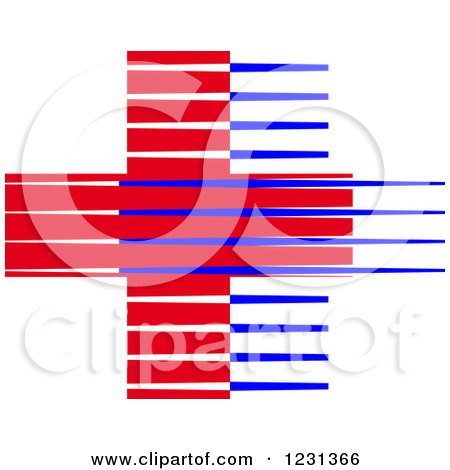 Clipart of a Red and Blue Lined Medical First Aid Cross - Royalty Free Vector Illustration by Vector Tradition SM