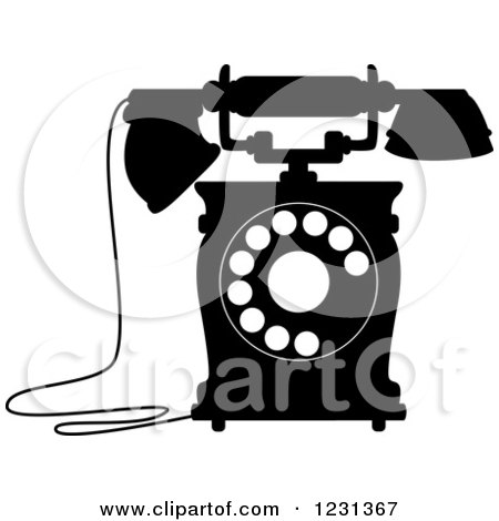 Clipart of a Retro Black and White Desk Telephone 7 - Royalty Free Vector Illustration by Vector Tradition SM