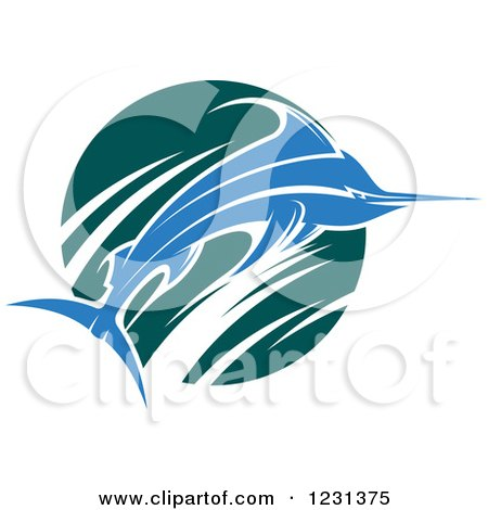 Clipart of a Leaping Blue Marlin Fish and Teal Wave - Royalty Free Vector Illustration by Vector Tradition SM