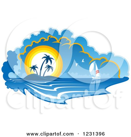 Clipart of a Sailboat near an Island at Sunset - Royalty Free Vector Illustration by Vector Tradition SM