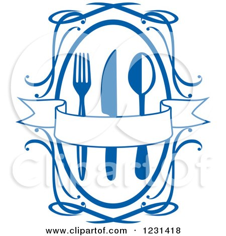 Clipart of a Blue Banner over Silverware in a Swirl Frame - Royalty Free Vector Illustration by Vector Tradition SM