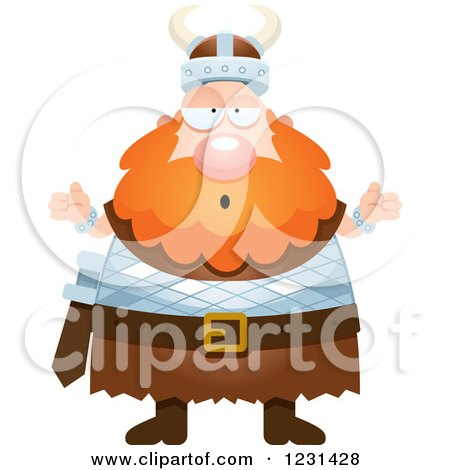 Clipart of a Careless Shrugging Red Haired Viking Man - Royalty Free Vector Illustration by Cory Thoman