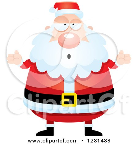 Clipart of a Careless Shrugging Santa Claus - Royalty Free Vector Illustration by Cory Thoman