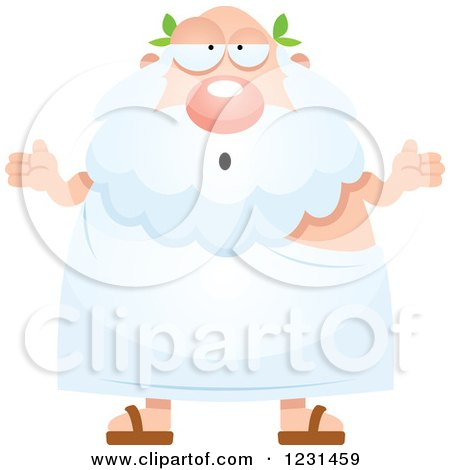 Clipart of a Careless Shrugging Greek Man - Royalty Free Vector Illustration by Cory Thoman