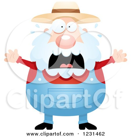 Clipart of a Scared Screaming Senior Male Farmer - Royalty Free Vector Illustration by Cory Thoman