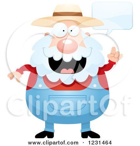 Clipart of a Senior Male Farmer Talking - Royalty Free Vector Illustration by Cory Thoman