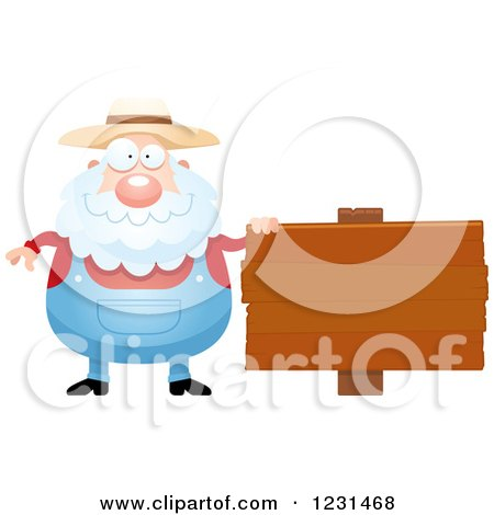 Clipart of a Senior Male Farmer by a Wooden Sign - Royalty Free Vector Illustration by Cory Thoman