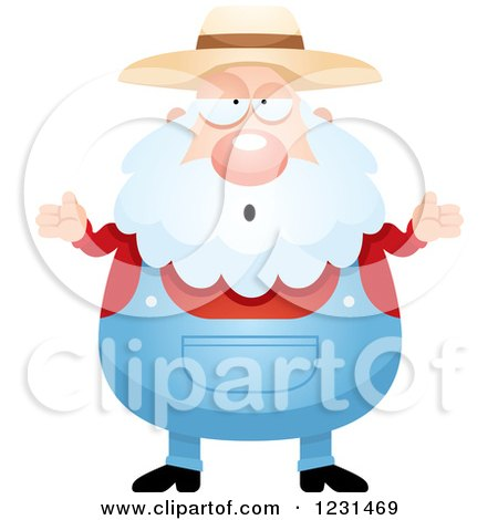 Clipart of a Careless Shrugging Senior Male Farmer - Royalty Free Vector Illustration by Cory Thoman