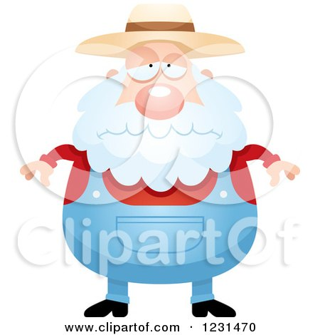 Clipart of a Depressed Senior Male Farmer - Royalty Free Vector Illustration by Cory Thoman