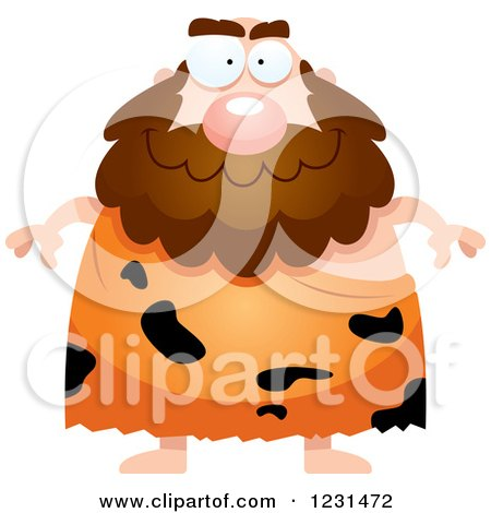 Clipart of a Happy Caveman - Royalty Free Vector Illustration by Cory Thoman