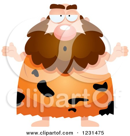 Clipart of a Careless Shrugging Caveman - Royalty Free Vector Illustration by Cory Thoman