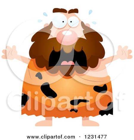 Clipart of a Scared Screaming Caveman - Royalty Free Vector Illustration by Cory Thoman