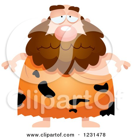 Clipart of a Depressed Caveman - Royalty Free Vector Illustration by Cory Thoman