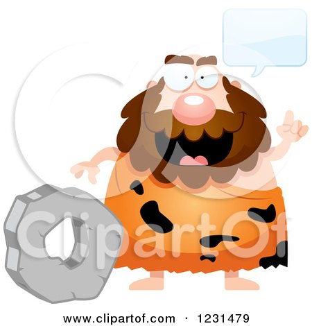 Clipart of a Smart Caveman Discussing the Wheel - Royalty Free Vector Illustration by Cory Thoman