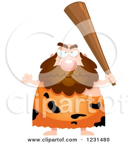 Clipart of a Mad Caveman Holding up a Club - Royalty Free Vector Illustration by Cory Thoman
