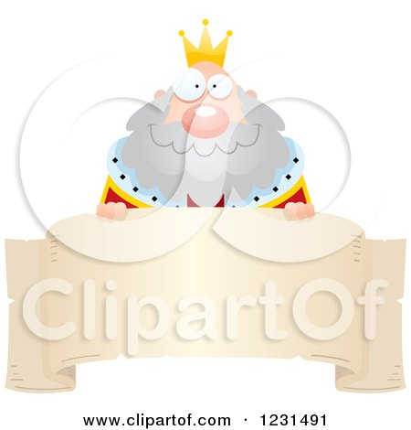 Clipart of a Happy King over a Banner - Royalty Free Vector Illustration by Cory Thoman