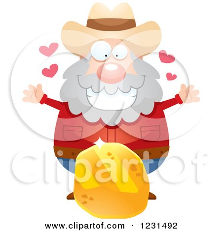 Clipart of a Happy Mining Prospector Man with a Gold Nugget - Royalty Free Vector Illustration by Cory Thoman