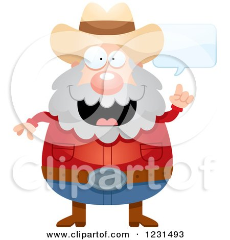 Clipart of a Talking Mining Prospector Man - Royalty Free Vector Illustration by Cory Thoman