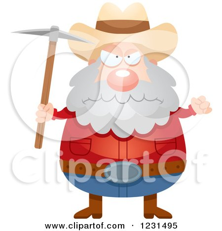 Clipart of a Mad Mining Prospector Man - Royalty Free Vector Illustration by Cory Thoman
