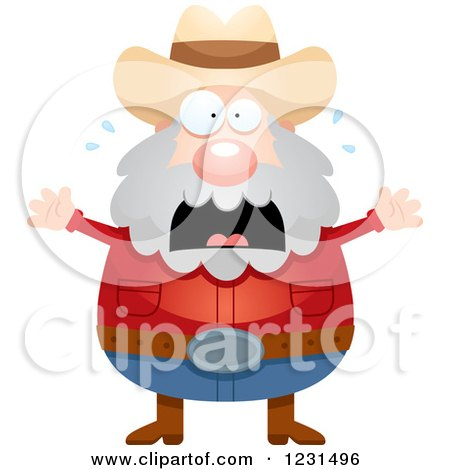 Clipart of a Scared Screaming Mining Prospector Man - Royalty Free Vector Illustration by Cory Thoman