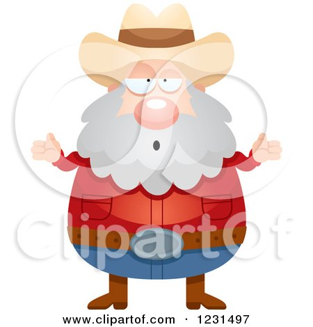 Clipart of a Careless Shrugging Mining Prospector Man - Royalty Free Vector Illustration by Cory Thoman