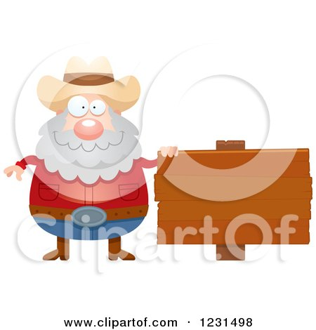 Clipart of a Happy Mining Prospector Man by a Wood Sign - Royalty Free Vector Illustration by Cory Thoman