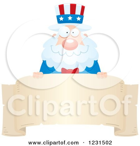 Clipart of a Happy Uncle Sam over a Banner Label - Royalty Free Vector Illustration by Cory Thoman