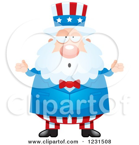 Clipart of a Careless Shrugging Uncle Sam - Royalty Free Vector Illustration by Cory Thoman