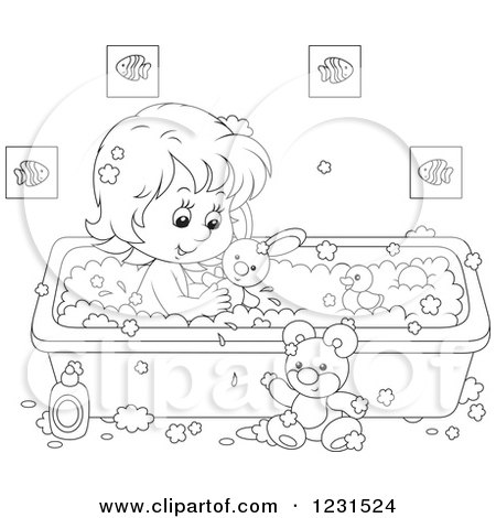 Clipart of an Outlined Girl Playing with Toys in the Bath Tub - Royalty Free Vector Illustration by Alex Bannykh