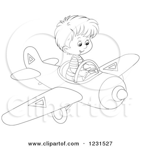 Clipart of an Outlined Boy Flying a Plane - Royalty Free Vector Illustration by Alex Bannykh