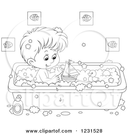 Clipart of an Outlined Boy Playing with Toys in the Bath Tub - Royalty Free Vector Illustration by Alex Bannykh