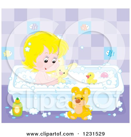 Clipart of a White Girl Playing with Toys in the Bath Tub - Royalty Free Vector Illustration by Alex Bannykh